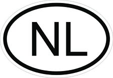 NL NETHERLANDS COUNTRY CODE OVAL STICKER CAR BOAT TRACK MOTORCYCLE HELMET AUTO