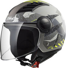 305625461xl - Casco Ls2 Jet Of562 Airflow Camo Matt Titanium Yellolia XL