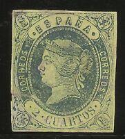 Edifil 57 (*)  2 Cuartos Azul-Amarillo  1862   NL986