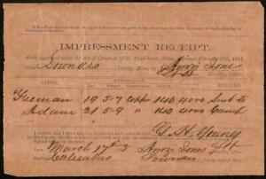 1865 CONFEDERATE SLAVE IMPRESSMENT RECEIPT LOWNDES MISSISSIPPI CIVIL WAR PAPER