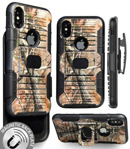 CAMO LEAF TREE MAGNET GRIP CASE + BELT CLIP HOLSTER STAND FOR APPLE iPHONE X