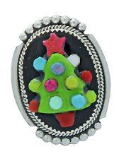 Beverly Etsate, Christmas Tree Pin, Small, Pendant, Multi-Stone Inlay, Zuni, 1.5
