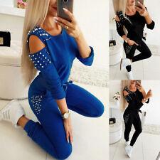 2PCS Women Tracksuit Long Sleeve Tops + Pants Cold Shoulder Casual Lounge Wear