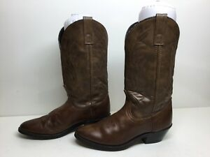 VTG WOMENS UNBRANDED COWBOY LEATHER BROWN BOOTS SIZE 6.5 M