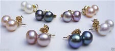 8Pairs 4Color 8--8.5MM Akoya Cultured Pearl 14K Gold Plated Stud Earring AAA