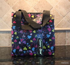 Lunch Tote Insulated Black Strap Hearts Blue Yellow Pocket Designer Travel Bag
