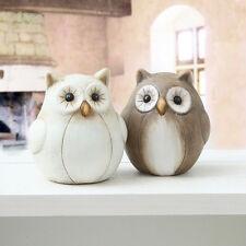 1 süße kleine Deko Eule 9 x 10 cm Creme Braun Dekoeule Uhu Owl Keramik Eulen NEU