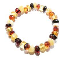 Genuine Baltic Amber Bracelet for Adult Stretch Baroque Beads Choose Color