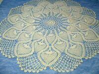 Vintage Doily Pineapple Design Crochet 21 inch ivory handmade