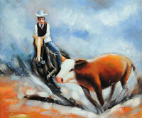 Cowboy Cutting Horse Cattle Roundup Steer 20X24 Western Oil Painting STRETCHED