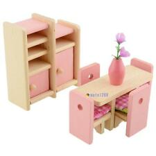 Wooden Dinning Dolls House Furniture Room Dollhouse Miniature For Kids Toys