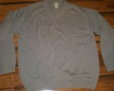 LL Bean Mens Sweater Extra Large XL Tall Heavy Knit Tan V-Neck Cotton