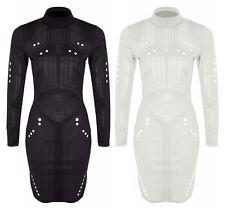Polyester Polo Neck/Roll Neck Long Sleeve Dresses Midi
