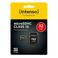 Intenso Micro SDHC Karte 32GB Speicherkarte Class 10 + SD Card Adapter 3413480