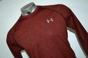 21243-a Mens Under Armour Gym Shirt Size Medium Maroon Polyester