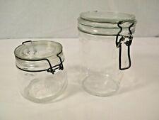 """Vintage Le Parfait French Glass Jars Set of 2 w/ Wire Bales 6-1/2"""" Super & 4"""""""