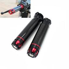 "Black Carbon Fiber CNC Motorcycle Handlebar Grips 22mm 7/8"" Mount Universal 2x"