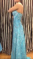 Sherri Hill Size 0 Blue Sequin Prom Dress