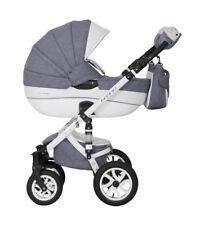 3in1 Kombi Kinderwagen Brano Ecco Babywanne Buggy Autoschale Leder Alu komplett grau