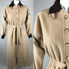 Vtg 70s Womens Susan Lynn Tan Brown Long Trench Coat Wool
