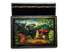 Old USSR Hand painted LACQUER Box KHOLUI 1940s Battle dragon knight. PUTILOVA