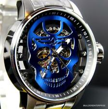 Mens Invicta S1 Rally Mechanical Blue Skull 48mm Skeletonized Steel Watch New