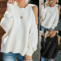 Oversized Sleeve Shoulder Blouse Batwing Sweaters Womens Cold Tops Pullover Knit
