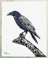 """THE RAVEN : BIRD"" Original Ink Drawing - Large 16x20 - Listed Artist Signed Art"