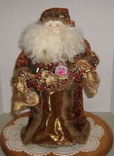"Old World Santa Tree Topper Faux Fur, Brocade & Velvet 18"" Tall"
