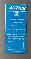 AUTAIR INTERNATIONAL AIRWAYS AIRLINE TIMETABLE ADVANCE SUMMER 1968