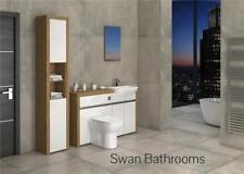 OAK / WHITE GLOSS BATHROOM FITTED FURNITURE WITH TALL UNIT 1800MM