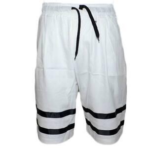 Pantalone corto uomo bermuda pantaloncini tuta bicolore bianco e nero molla moda