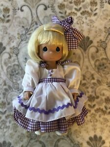 """Precious Moments Name Your Own Doll 12"""" purple gingham dress blonde girl"""