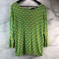 Talbots Women's Novelty Print Pear Sweater Button Back 3/4 Sleeve Size Medium