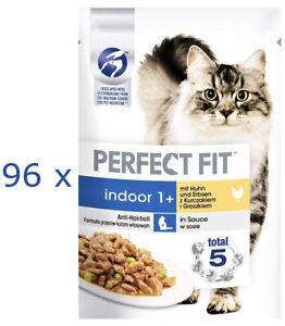 Perfect Fit Indoor 1+ Katzen-Nassfutter Huhn & Erbsen in Sauce: 96 x 85 g Beutel