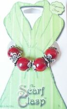 Scarf Clasp Clip Holder Magnetic Jewelry Red Natural Stone for Scarves Shawl