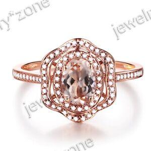 18K Rose Gold Gemstone Morganite Diamond Antique Vantage Two Halos Fine Ring