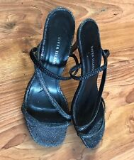 Ladies Size 5 Charcoal Sparkly High Heels Shoes New River Island