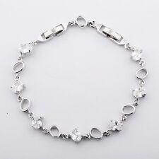 "MODOU Oval White Sapphire Charm Tennis Bracelet 7.5"" White Gold Filled Jewelry"