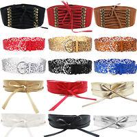 Women Faux Leather Waist Belt Retro Elastic Buckle Stretch Wide Waistband Casual