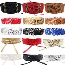 Womens PU Leather Wide Buckle Waistband Corset Cinch Lace Up Waist Band Belts