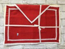 Belgian Linen Placemat Napkin Set Of 4 Red White Renaissance Lace Vintage NOS