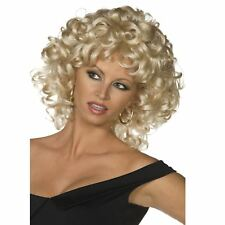 Ladies Official Grease Sandy Last Scene Curled Blonde Wig Fancy Dress Accessory