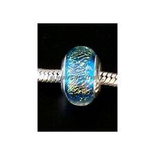 AUTHENTIC HANDMADE GLASS BEAD CHARM ~ SPARKLE BLUE