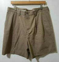 Nordstrom Mens Wrinkle Free Beige Shorts Sz 34 Cotton Pockets Pleated Front