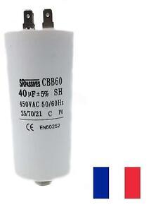 Condensateur moteur de démarrage / permanent 40µF 40uF 450V à cosses + vis CBB60