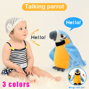Electric Talking Parrot Plush Toy Speaking Record Repeat Waving Wings Smart Bird