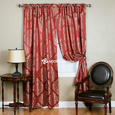 ROD POCKET DAMASK: BLOCKOUT Rod Pocket Curtain - RED