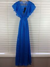 BARBARELLA Vintage sz 10 womens maxi blue EVA Silk dress NEW rrp$295 [#152]