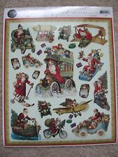 Gifted Line Vintage Christmas Stickers Santa Claus Vehicles Train John Grossman